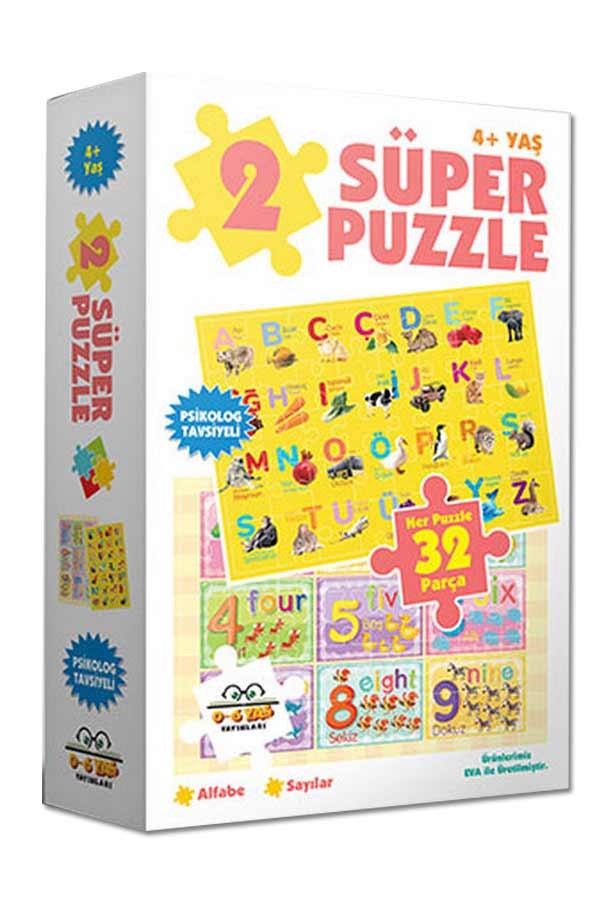 2 Süper Puzzle - Alfabe ve Sayılar 4 Yaş ve Üzeri - 0-6 Yaş Yayınları