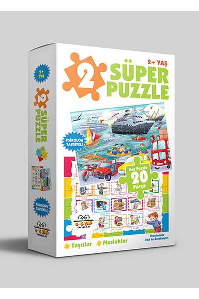 2 Süper Puzzle - Taşıtlar Meslekler 2 Yaş ve Üzeri - 0-6 Yaş Yayınları