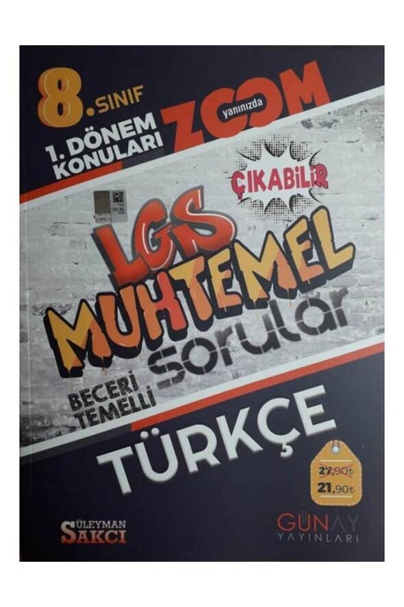 8. Sınıf LGS 1. Dönem Türkçe Muhtemel Sorular Zoom Serisi Günay Yayınları