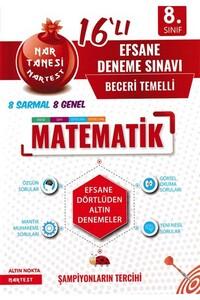 Nartest Yayınları - 8. Sınıf Matematik 16 lı Efsane Deneme Sınavı - Nartest Yayınları