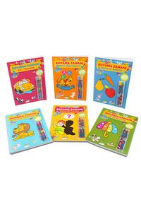 Parıltı Yayınları - Boyama Zamanı Seti 6 Kitap - Pastel Boya Kalemi Hediyeli