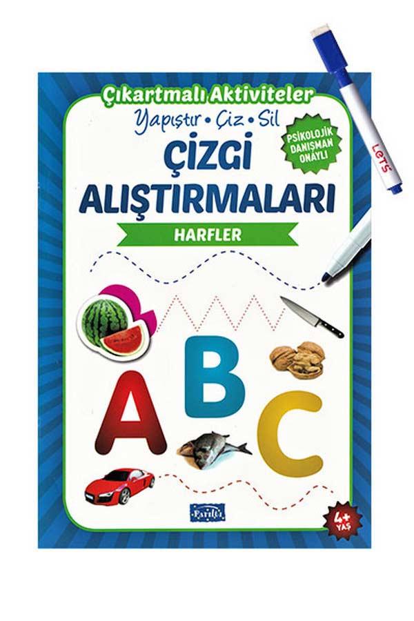 Çizgi Alıştırmaları - Harfler - Parıltı Yayınları - Yaz Sil Kalem Hediyeli