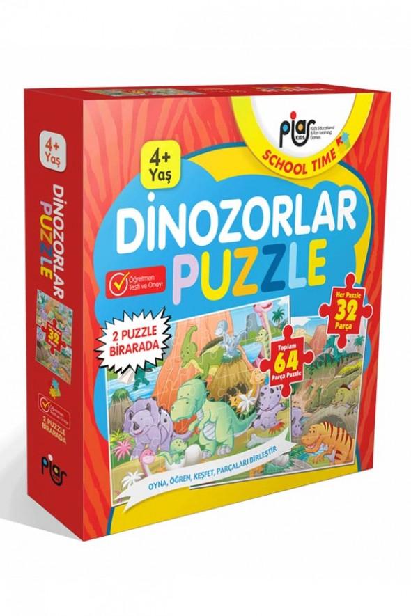 Dinozorlar Puzzle / 64 Parça Puzzle / 2 Puzzle Bir Arada / 4+ Yaş