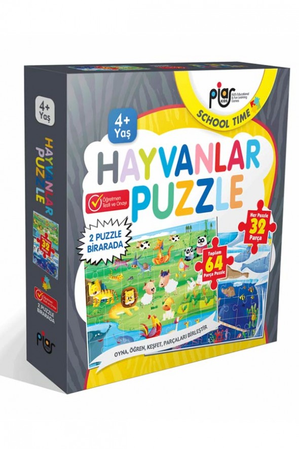 Hayvanlar Puzzle / 64 Parça Puzzle / 2 Puzzle Bir Arada / 4+ Yaş