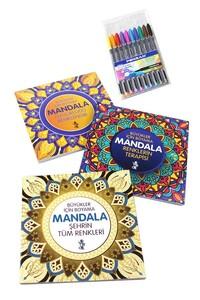 Venedik Yayınları - Mandala Büyükler İçin Boyama Seti - 3 Kitap ve 10'lu Kalem