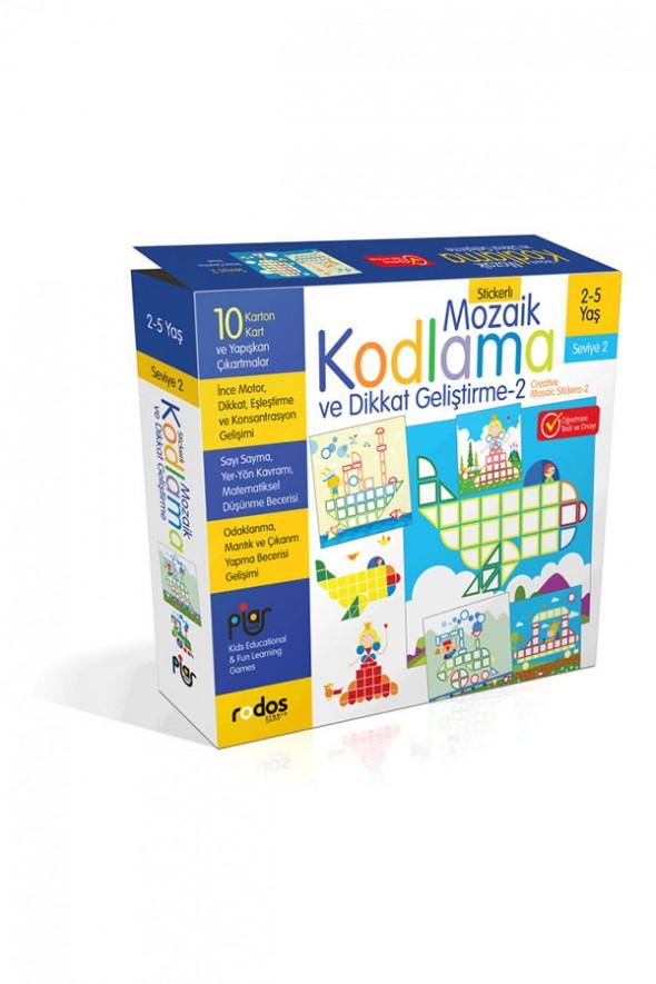 Stickerlı Mozaik Kodlama ve Dikkat Geliştirme 2 (Seviye 2) - Mozaik Kodlama Eğitim Seti - 2-5 Yaş - Piar Kids
