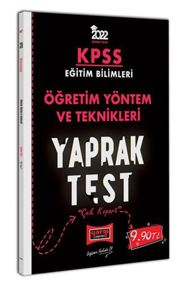 Yargı Yayınları 2022 KPSS Eğitim Bilimleri Öğretim Yöntem ve Teknikleri Yaprak Test