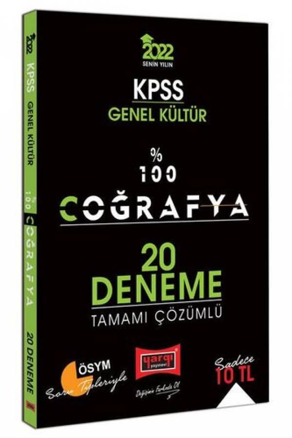 Yargı Yayınları 2022 KPSS Genel Kültür %100 Coğrafya Tamamı Çözümlü 20 Deneme