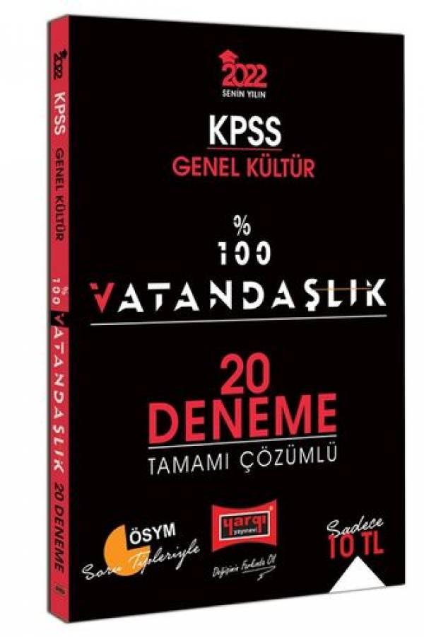 Yargı Yayınları 2022 KPSS Genel Kültür %100 Vatandaşlık Tamamı Çözümlü 20 Deneme