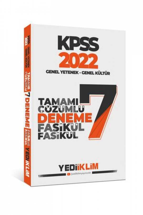 Yediiklim Yayınları 2022 KPSS GY-GK Tamamı Çözümlü 7 Fasikül Deneme